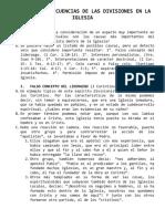 CAUSAS Y CONSECUENCIAS DE LAS DIVISIONES EN LA IGLESIA