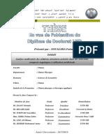 Analyse Multivariée Des Relations Structures-Activités Dans Des Nouveaux Composés Organiques à Utilisation Médicinale SOUALMIA Fatima