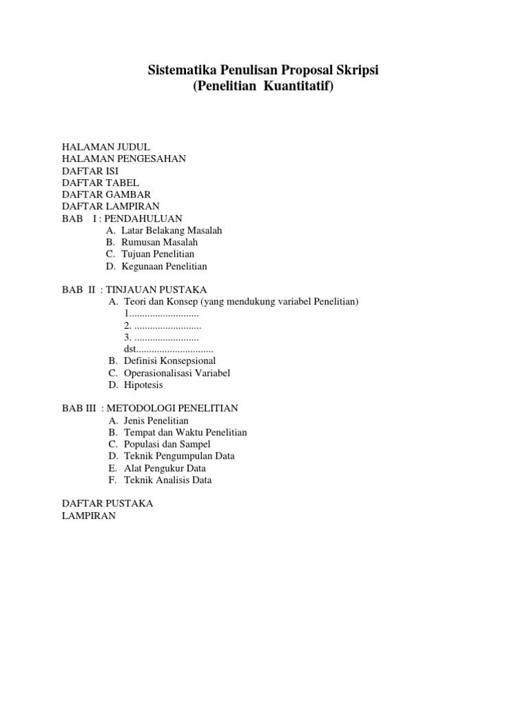 Sistematika Penulisan Proposal Skripsi Penelitian Kuantitatif