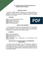 CONTENIDO DEL TRAYECTO INICIAL DE PNF PROTECCIÓN CIVIL Y ADMINISTRACIÓN DE RIESGO