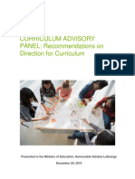 Curriculum Advisory Panel recommendations
