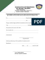 JUSTIFICATIVO DE FALTA DE LOS ESTUDIANTES DELCOLEGIO DEL MILENIO