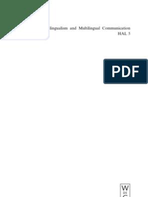 Handbook of Multilingualism and Multilingual Communication
