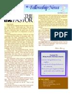 November 30, 2010 Fellowship News