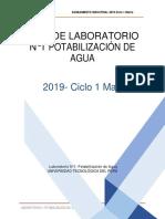 LABORATORIO  CALIFICADO N°1 POTABILIZACIÓN DEL AGUA