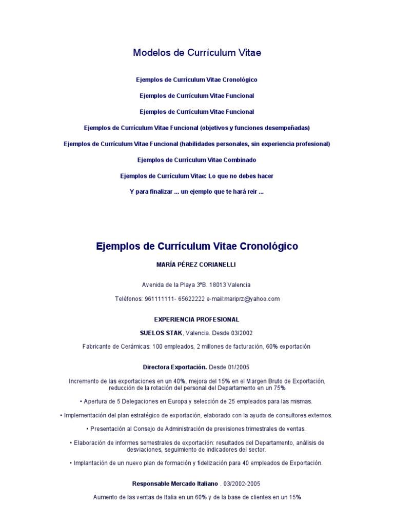 Curriculum Vitae Objetivos. Ejemplos De Curriculum Vitae Objetivo ...