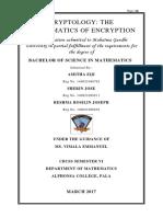 CRYPTOLOGY THE MATHEMATICS TO ENCRYPTION