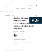 Solution Manager 7.2 – Installation and Configuration – VI – Managed System Config – HANA DB