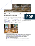 KITCHEN SERVICES Different Types of Food and Beverage Services in Hotels