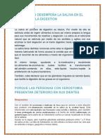 QUE FUNCION DESEMPEÑA LA SALIVA EN EL PROCESO DELA DIGESTION