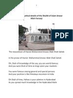 The Biographical Details of the Shaikh of Islam Anwar Allah Farooqi