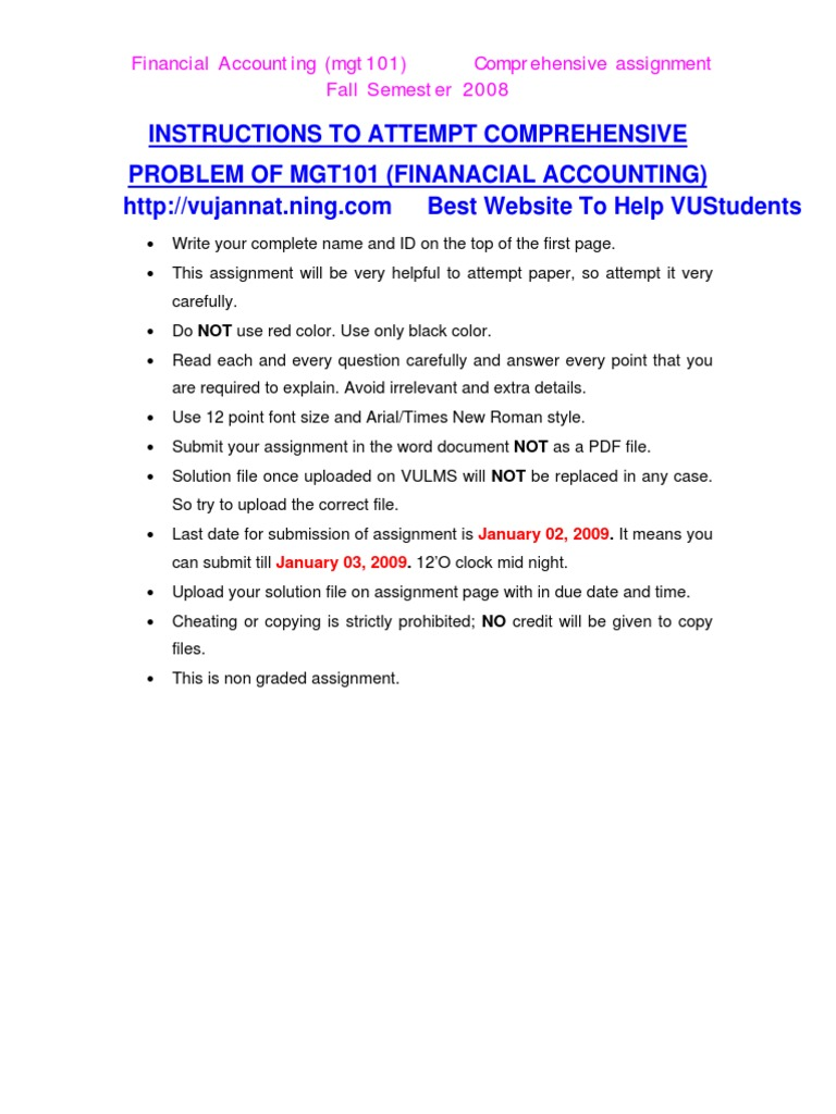 mgt101 financial accounting assignment 2 solution 91 121 113 106 mgt1 1 financial accounting assignment 2 solution 2 16