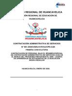 CONTRATACIÓN ADMINISTRATIVA DE SERVICIOS  N° 001-2020/UGELH-HVCA/CPS-CAS PRIMERA CONVOCATORIA