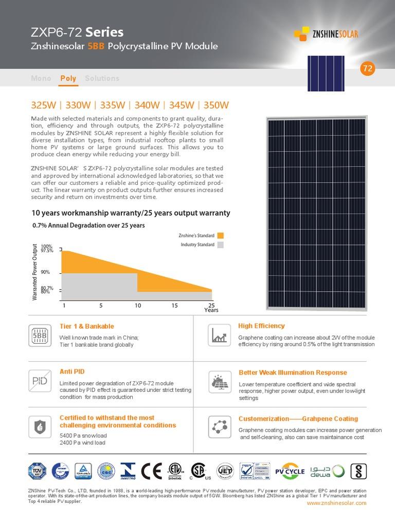 Data Sheet ZN Shine | Photovoltaics | Solar Panel | Free 30-day ...