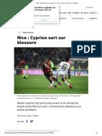 Nice_ Cyprien Sort Sur Blessure - Foot - Coupe de France - L'Équipe