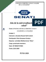 INVESTIGACIÓN DE ACCIDENTES, CAUSAS Y ANALISIS DE CAUSALIDAD