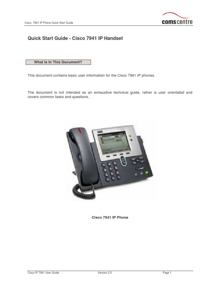 7941 Handset User Guide | Telephone | Conference Call