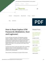 How to Reset Sophos UTM Passwords (WebAdmin, Root and Loginuser)