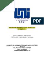 Requisitos y Estructura de Presentación de Protocolos y Tésis Monográficas UNI-FTC