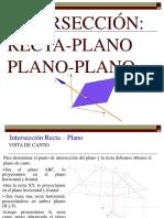 intersección recta-plano y plano-plano