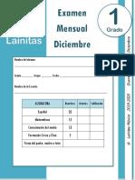 Diciembre - 1er Grado - Examen Mensual (2019-2020)
