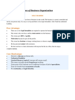 Types of Business Organisation - FULL NOTES