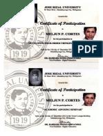 MELJUN CORTES 2012 JRU Certificate Developing High Order Thinking Skills ACADEMIC Advising Seminar
