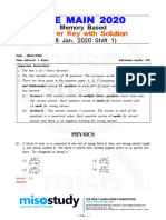 JEE Main 2020 Question Paper With Solution 08 Jan 2020 Shift 1 Memory Based