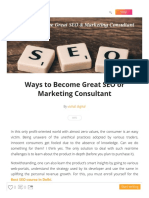 Ways to Become Great SEO or Marketing Consultant