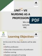 Nursing  as a profession.Indu