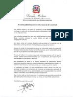 Mensaje del presidente Danilo Medina con motivo del Día Nacional de la Juventud 2020