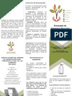 Brochure Taller Envasado Alimentos Para Emergencias ACUTAS