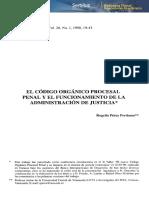 El Código Orgánico Procesal Penal y el Funcionamiento de la Administración de Justicia
