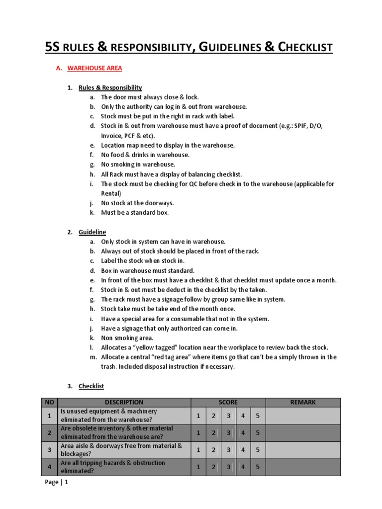 5s Guidelines Checklist Rules Amp Responsibility