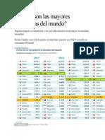 ¿Cuáles son las mayores economías del mundo? España supera a Australia y es ya la decimotercera mayor economía mundial Reino Unido caerá del quinto al séptimo puesto en 2019 cuando se consume el brexit JUANDE PORTILLO ¿Cuáles son las mayores economías del mundo?pulsa en la foto Belén Trincado / Cinco Días Compatir en FacebookCompatir en TwitterCompatir en LinkedinEnviar por correo164 Madrid  10 OCT 2018 - 11:17 CEST El ránking de los mayores países del mundo está en plena transformación. La batalla por los primeros puestos de la lista de principales economías sufrirá algunos cambios destacables en los próximos meses y años, según las proyecciones publicadas esta semana por el Fondo Monetario Internacional (FMI).  España, por ejemplo, sube un puesto este año mientras que Reino Unido está a punto de bajar dos en una clasificación en la que Estados Unidos tiene garantizado el primer puesto del podio durante el próximo lustro pese a que China le ha superado ya en paridad de poder de compra