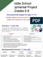 middle school developmental project ages 12-15 developmental stages