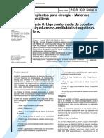 nbr 5832 - implantes para cirurgia - materiais metalicos - parte 8 liga conformada de cobalto-niq