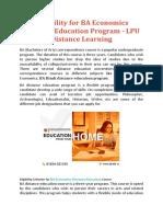 Eligibility for BA Economics Distance Education Program