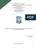 ALGUNAS BREVES CONSIDERACIONES. FILOSOFÍA DEL LENGUAJE. Gustavo Urdaneta Rivas