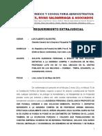 REQUERIMIENTO EXTRAJUDICIAL-ESTUDIO JURÍDICO HARO REYES, RIVAS SALDARRIAGA & ASOCIADOS