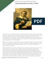 A Doutrina dos Transcendentais de São Tomás de Aquino – Filosofia e Literatura