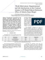 The Effect of Work Motivation, Organizational Commitment, and Job Satisfaction on the Contract Employees Performance of Pt Bank Rakyat Indonesia  Branch Office of Jakarta Daan Mogot