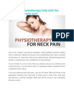 Physiotherapy Help With the Treatment of Neck Pain