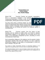 Transportation Law - Course Outline