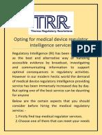 Opting for Medical Device Regulator Intelligence Services
