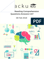 CAT 2017 Reading Comprehension Questions Answers CAT