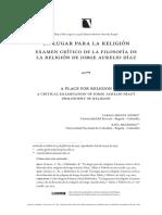 Un lugar para la religión-examen crítico de la filosofía de la religión de Jorge Aurelio Díaz