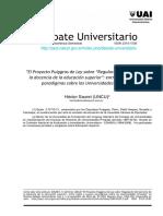 Sauret 2012 El proyecto Puiggros y la regulacion de la docencia y universidades privadas.pdf