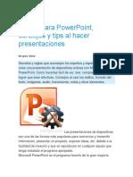 9 consejos para una buena presentación en Power Point