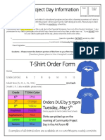 community project day tshirt order form